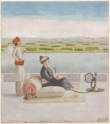 Portrait of John Wombwell smoking a hookah.