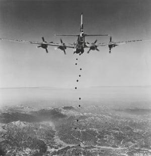 An American bomber flies over North Korea during the Korean War