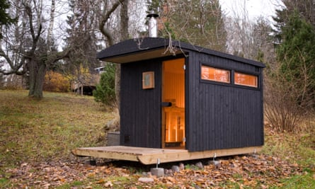 Hot to trot … Denizen's sauna on a sledge in Åland, Finland.