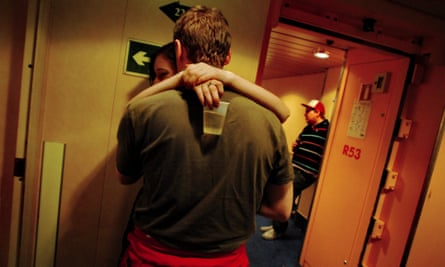 Finnish university students partying on a Silja Line cruise in the Baltic Sea.