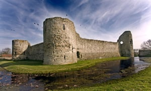 Pevensey Castle ruins, East Sussex, England.