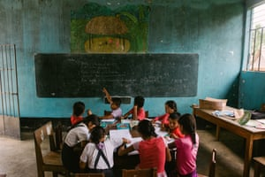 Children during a primary class in Soledad