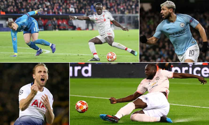 Clockwise from top left: Liverpool, Manchester City, Manchester United and Tottenham have qualified for the Champions League quarter-finals.