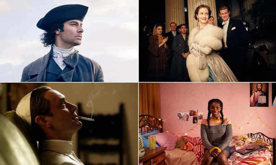Clockwise from left: Aidan Turner in Poldark, Claire Foy in The Crown, Jude Law in The Young Pope and Michaela Coel in Chewing Gum.