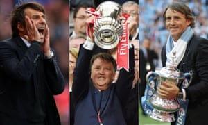 The Cup-winning smiles of Louis van Gaal, centre, and Roberto Mancini, right, were soon wiped by the sack and Saturday is expected to be Antonio Conte's final Chelsea game.