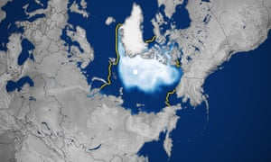 The October 2020 sea ice concentration in the Arctic. The yellow line shows 1981- 2010 median.