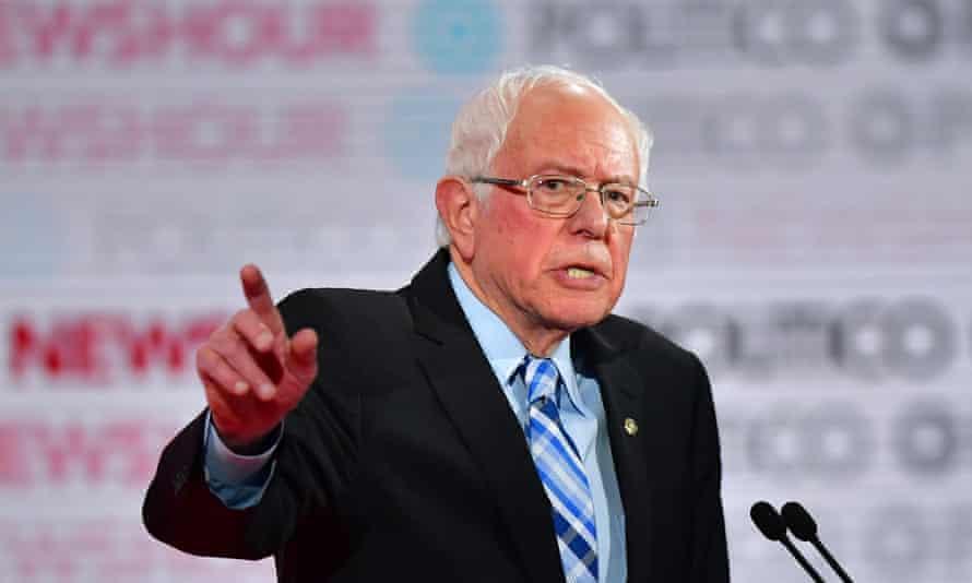 Bernie Sanders during the sixth Democratic primary debate of the 2020 presidential campaign season at Loyola Marymount University in Los Angeles, California.