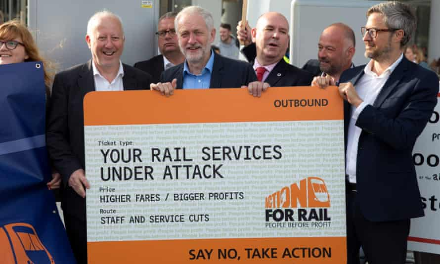 Jeremy Corbyn last year, protesting against rail fare increases and calling for the railways to be renationalised.