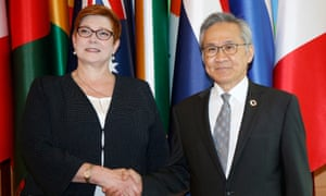 Australia's foreign affairs minister Marise Payne is greeted by her Thai counterpart Don Pramudwinai in Bangkok on Thursday. Payne said she would advocate for the safe return to Australia of Bahraini footballer Hakeem Al-Araibi, who is currently detained in Thailand.