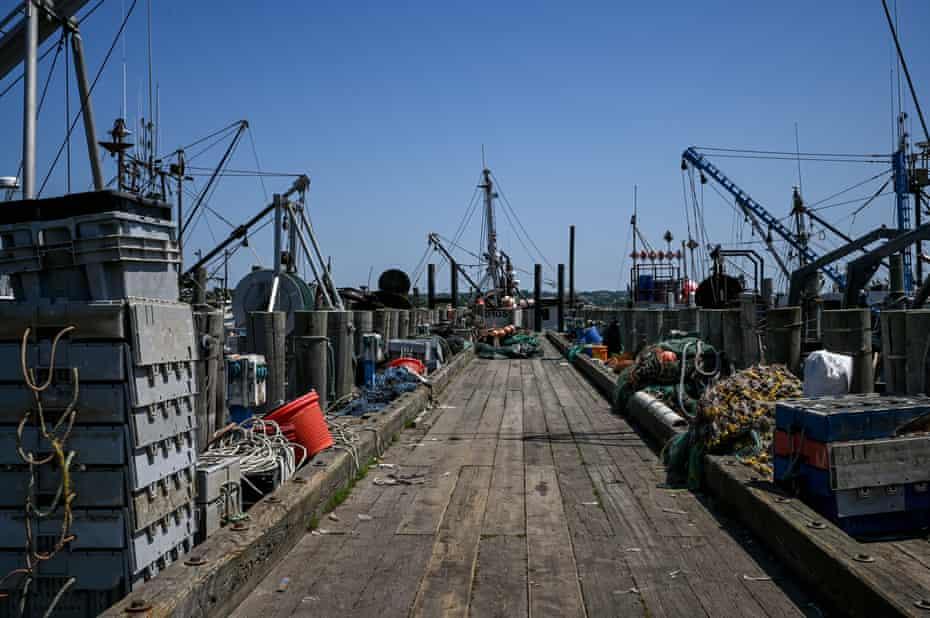 A commercial fishing dock in Montauk, New York. Montauk is the state's largest commercial fishing port.