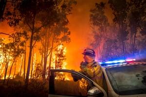 Perth, Australia A firefighter monitors a bushfire in the eastern suburbs of Perth