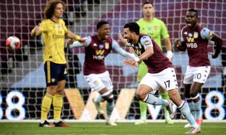 Aston Villa's Mahmoud Trezeguet celebrates