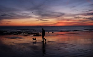 Whitley Bay, UK: The sun rises over the seaside town in Northumberland