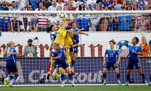 Abby Wambach tries to break the deadlock against Sweden.