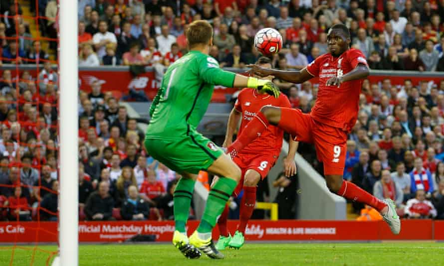 Liverpool's Christian Benteke scores the only goal of the game against Bournemouth