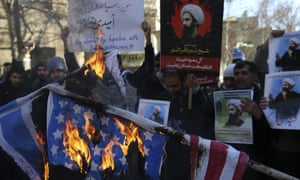 Iranian demonstrators burn representations of the US and Israeli flags during a demonstration in front of the Saudi Arabian Embassy in Tehran earlier this week.