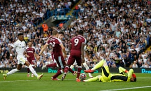 The ball falls to West Ham United's Tomas Soucek to score their first goal before it was later overruled by VAR.