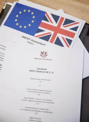 The agenda and menu for the meeting about Brexit in Munich.