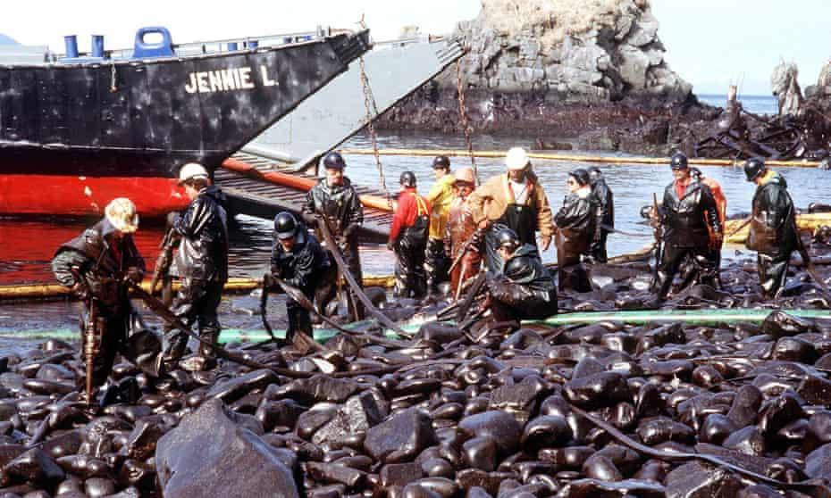 The Exxon Valdez oil tanker leaked 11m gallons of oil into Prince William Sound, Alaska.