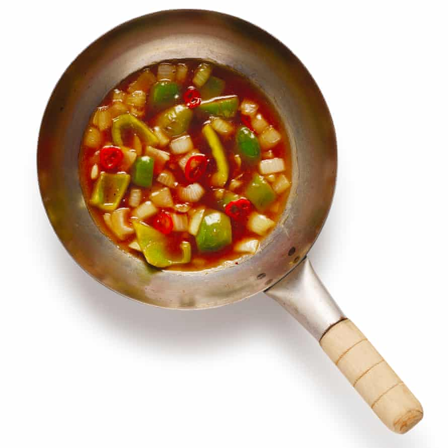 Stir-fry the veg, add the sauce and pineapple, and reduce.