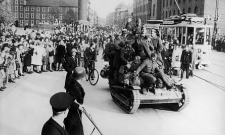 German troops retreat in Copenhagen in 1945.