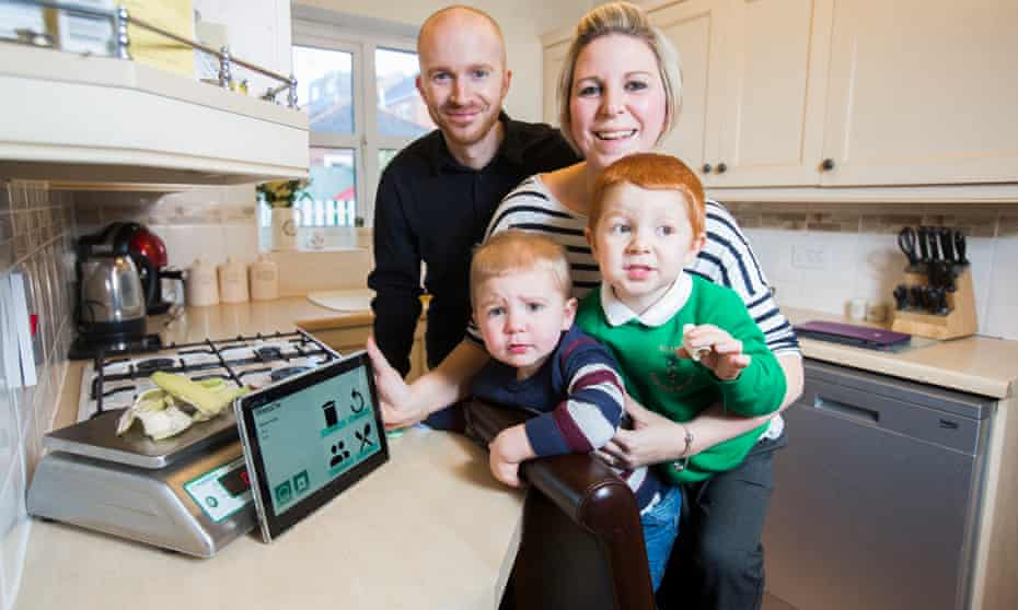 Lisa and Jamie Edwards, with their children Max (left) and Jake, are all taking part in a food waste reduction trial.
