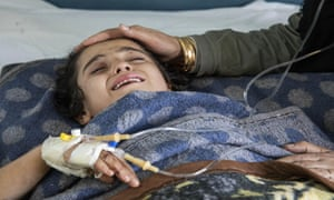 A girl injured in Turkey's military invasion of Kurdish-controlled areas of north-eastern Syria
