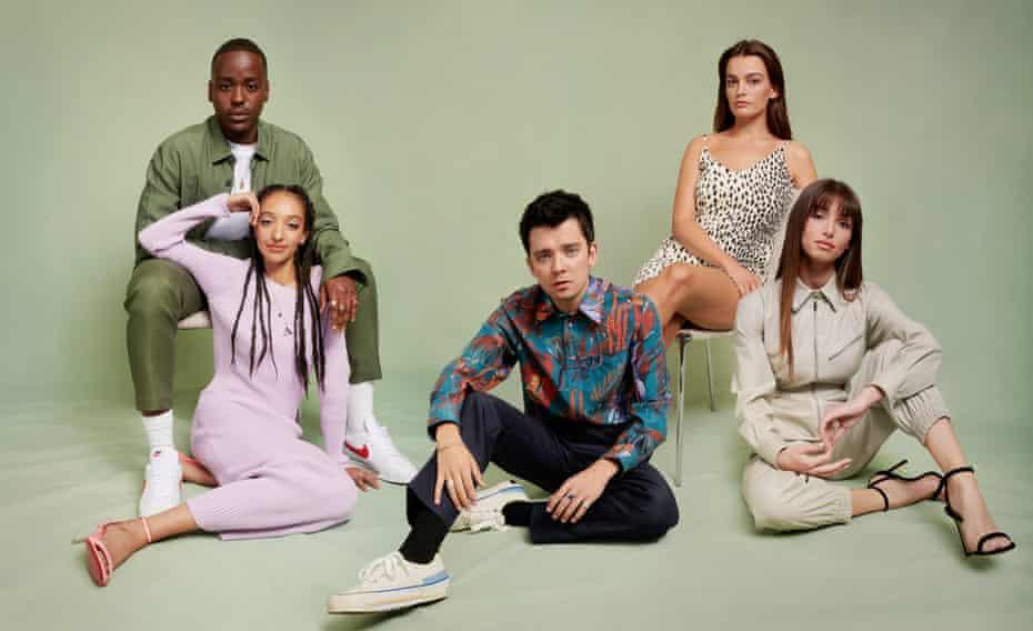 The cast of Sex Education, from left: Ncuti Gatwa, Patricia Allison, Asa Butterfield, Emma Mackey, Mimi Keene.