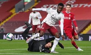 Arsenal's Eddie Nketiah is thwarted by Liverpool keeper Adrian.