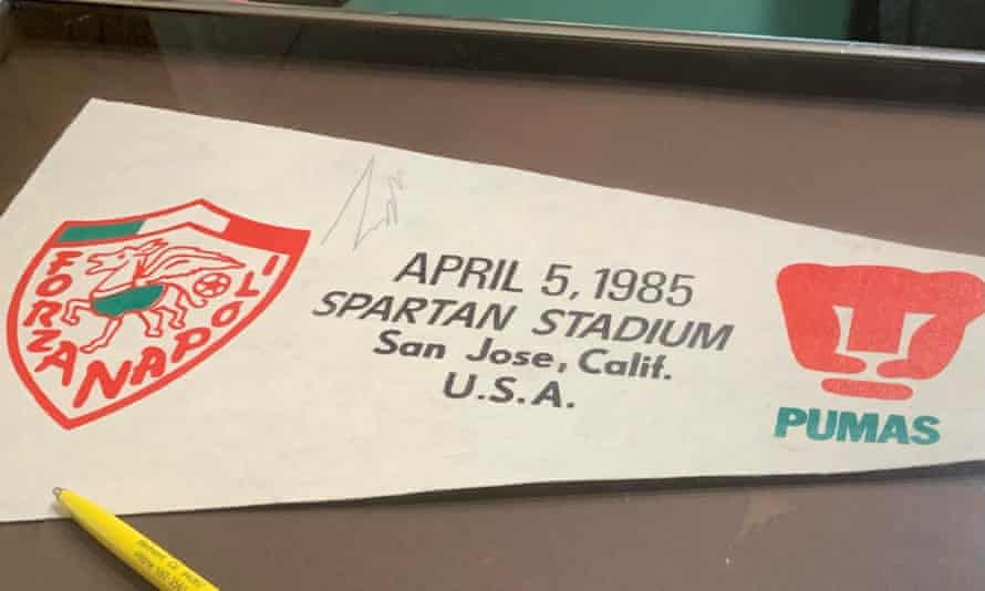 The banner signed by Diego Maradona, after a young Robert Garcia ran across the pitch to him while he was warming up at a game in 1985.