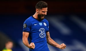 Olivier Giroud of Chelsea celebrates scoring in added time at the end of the first half against Norwich