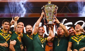 Australia celebrate after beating England in the Rugby League World Cup final.
