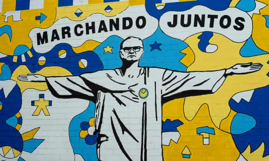 A mural of Marcelo Bielsa in the pose of Christ the Redeemer in Leeds.