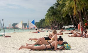 A Boracay beach in April, before the closure of the holiday island.