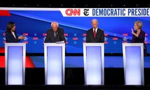 Kamala Harris, Bernie Sanders, Joe Biden and Elizabeth Warren on the CNN debate stage in Westerville, Ohio.