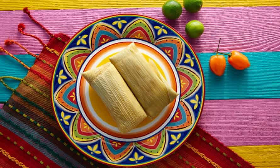 Mexican tamales on colourful plate