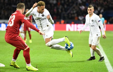 Neymar in action for PSG in November's win over Liverpool, when Marco Verratti was deputed to tidy up for him.
