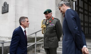 Gavin Williamson (left) greeted by Vice Chief of the Defence Staff Gordon Messenger (centre) and Stephen Lovegrove, the permanent secretary at the Ministry of Defence, as he arrives at the MoD.