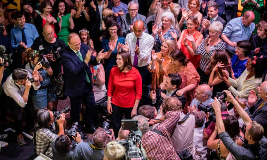 Jo Swinson is announced as new leader of the Liberal Democrat party in London on Monday.