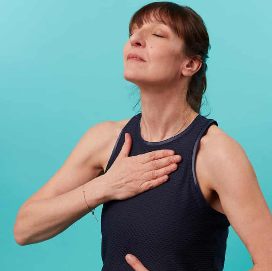 Zoe Williams breathing with hand on chest