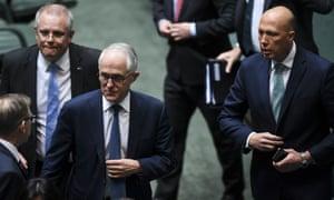 (L-R) Treasurer Scott Morrison, prime minister Malcolm Turnbull, Peter Dutton in parliament house, Canberra, 23 August 2018