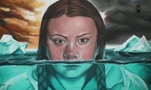 Mural of Greta Thunberg painted in Bristol