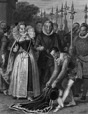 The gallantry of Sir Walter Raleigh: He spreads his cloak for Queen Elizabeth.