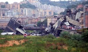 The collapsed Morandi bridge in August 2018