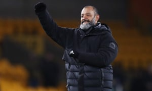 Wolves' manager Nuno Espirito Santo celebrates the win over Besiktas.