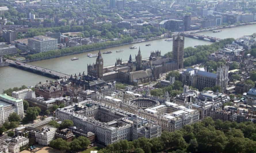 The Treasury buildings and the Houses of Parliament