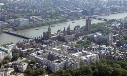 An aerial view of Westminster and government buildings in London