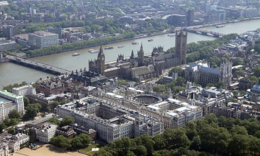 An aerial view of Westminster, where the government has failed to meet targets to cut its pollution footprint.