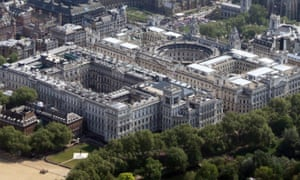 Aerial view of Treasury buildings and Foreign Office.