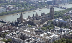 Aerial view of Treasury buildings, the FCO, government offices and Houses of Parliament, London.